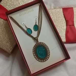 NWT ERICA LYONS Green Necklace & Earring Set